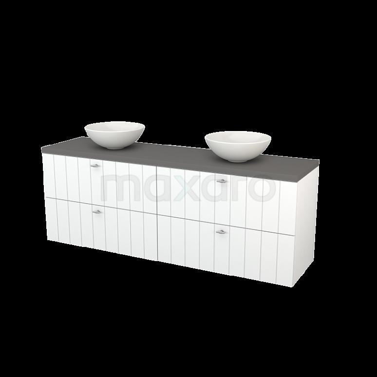 Badkamermeubel voor Waskom 180cm Mat Wit Lamel Modulo+ Plato Basalt Blad