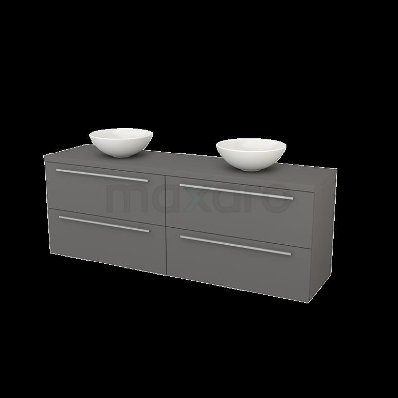Badkamermeubel voor Waskom 180cm Modulo+ Plato Basalt 4 Lades Vlak