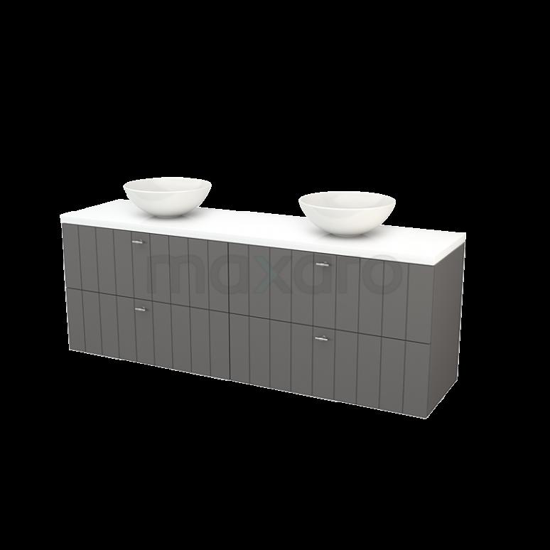 Badkamermeubel voor Waskom 180cm Basalt Lamel Modulo+ Plato Hoogglans Wit Blad