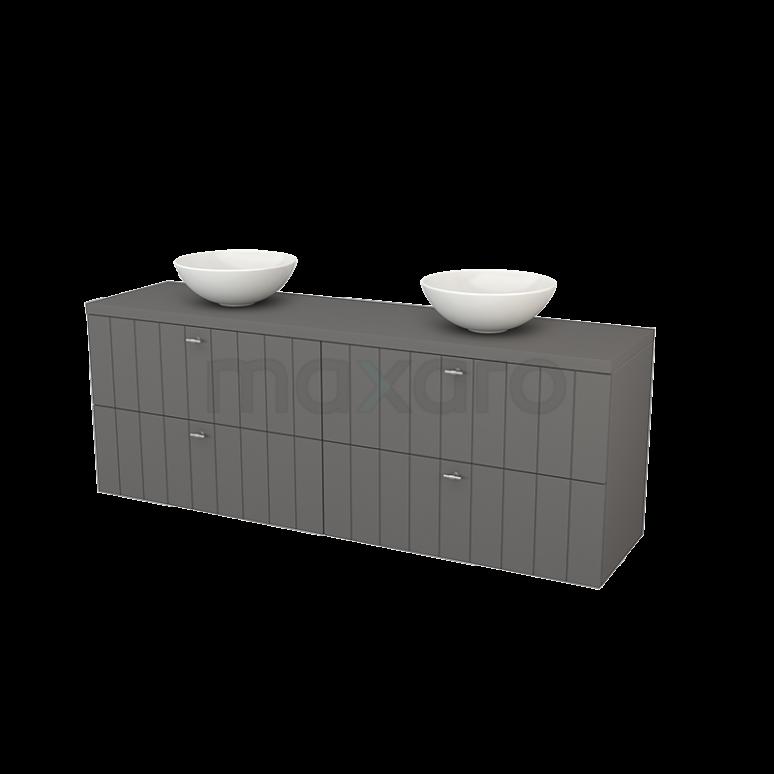 Badkamermeubel voor Waskom 180cm Modulo+ Plato Basalt 4 Lades Lamel