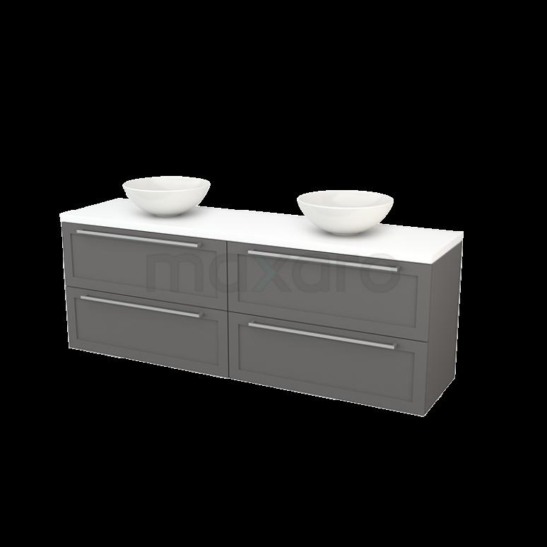Badkamermeubel voor Waskom 180cm Basalt Kader Modulo+ Plato Mat Wit Blad