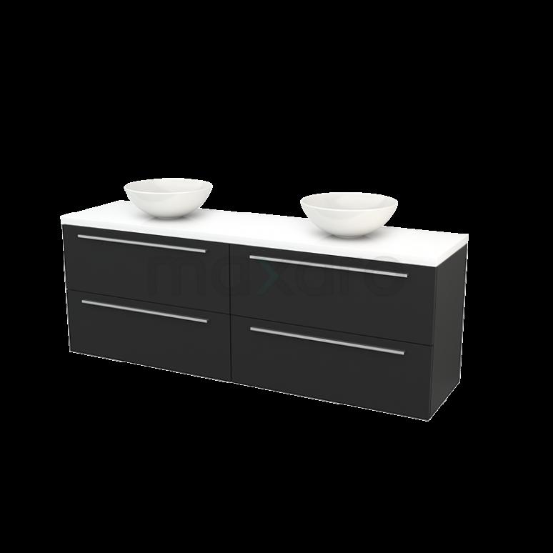 Badkamermeubel voor Waskom 180cm Carbon Vlak Modulo+ Plato Hoogglans Wit Blad