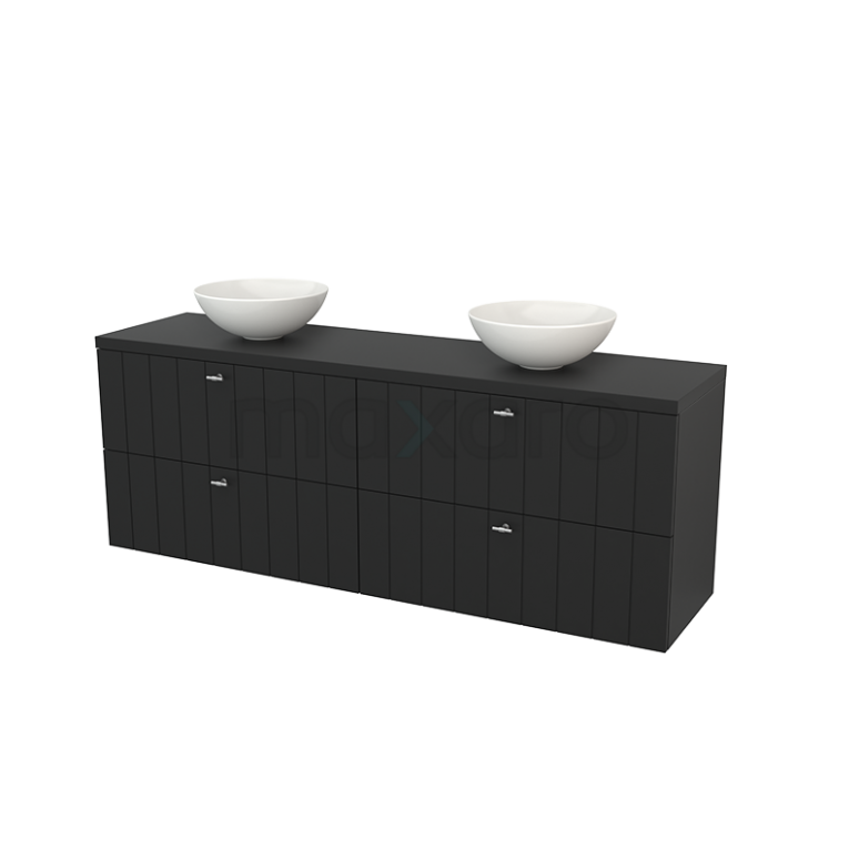 Badkamermeubel voor Waskom 180cm Modulo+ Plato Carbon 4 Lades Lamel