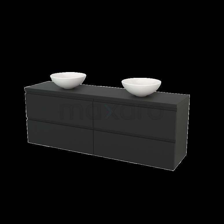 Badkamermeubel voor Waskom 180cm Modulo+ Plato Carbon 4 Lades Greeploos