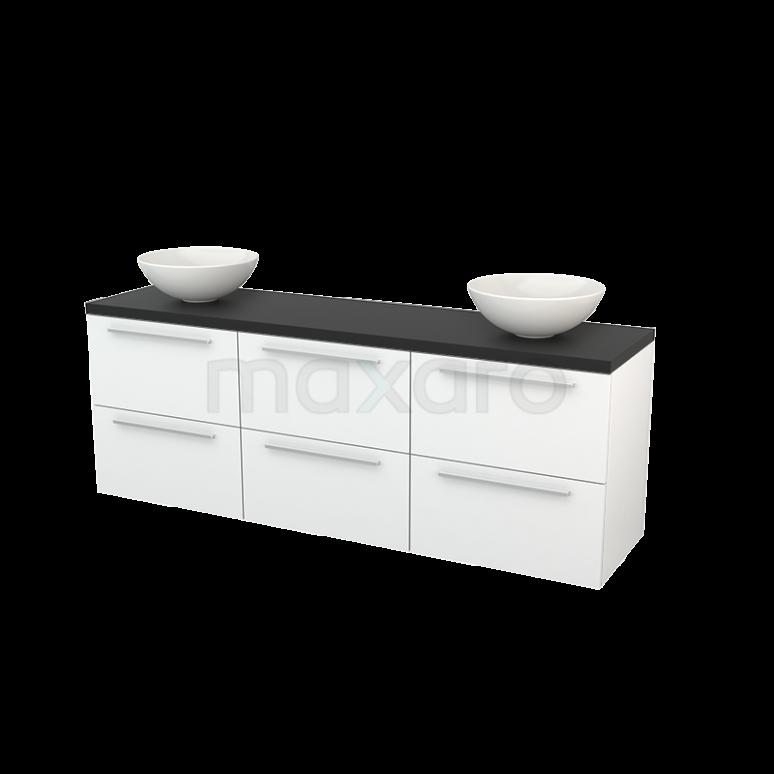 Badkamermeubel voor Waskom 180cm Hoogglans Wit Vlak Modulo+ Plato Carbon Blad