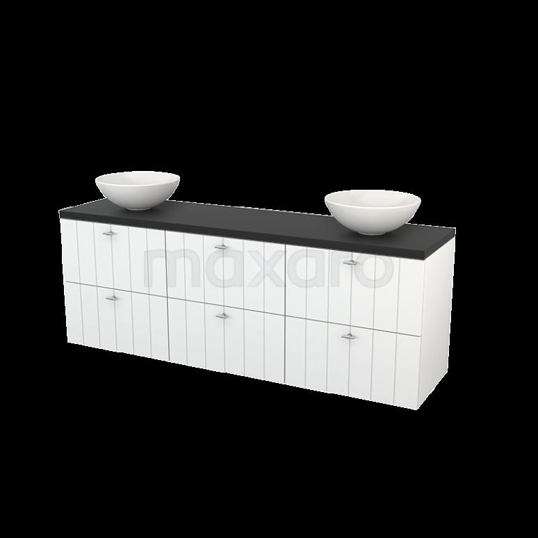 Maxaro Modulo+ Plato BMK002898 Badkamermeubel voor Waskom 180cm Hoogglans Wit Lamel Modulo+ Plato Carbon Blad