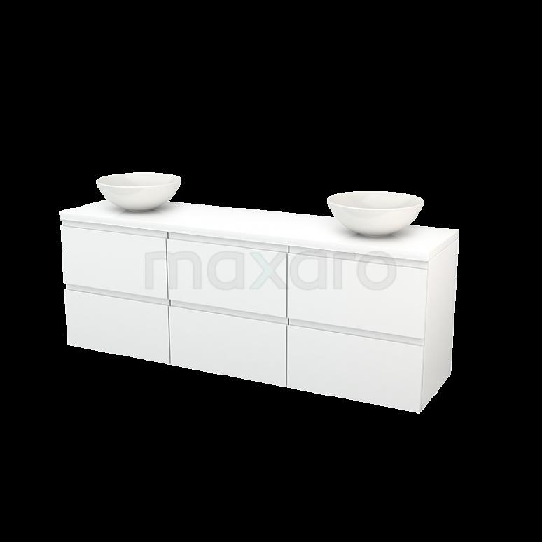 Badkamermeubel voor Waskom 180cm Modulo+ Plato Hoogglans Wit 6 Lades Greeploos