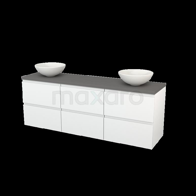 Badkamermeubel voor Waskom 180cm Hoogglans Wit Greeploos Modulo+ Plato Basalt Blad