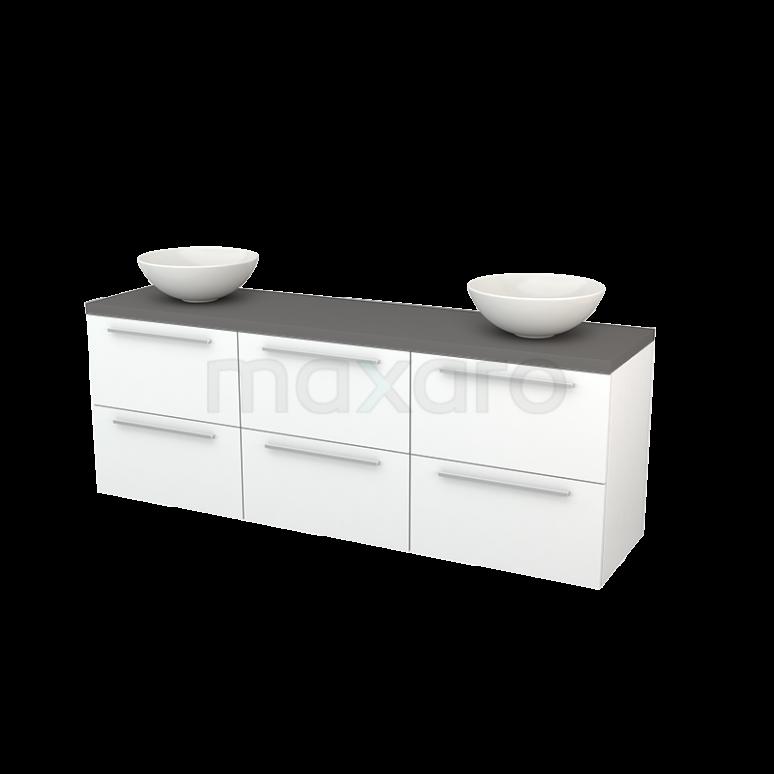 Badkamermeubel voor Waskom 180cm Mat Wit Vlak Modulo+ Plato Basalt Blad