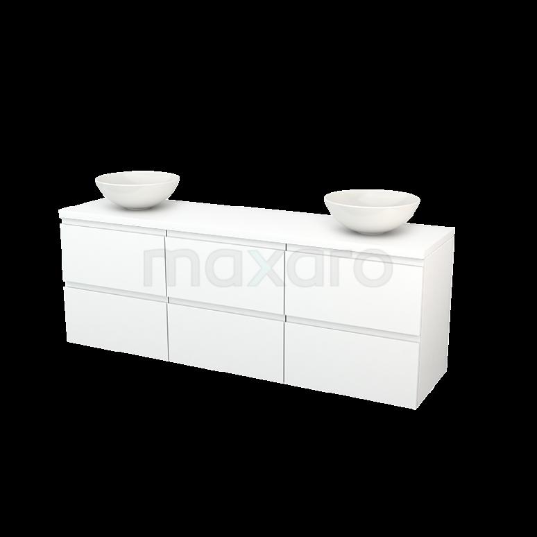 Badkamermeubel voor Waskom 180cm Modulo+ Plato Mat Wit 6 Lades Greeploos