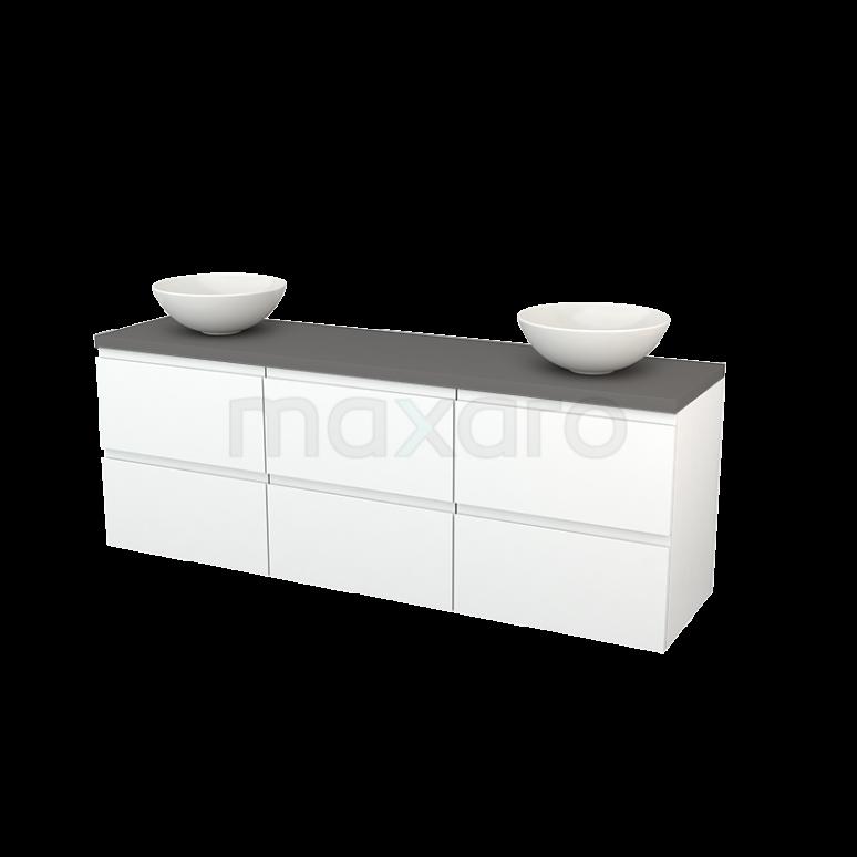 Badkamermeubel voor Waskom 180cm Mat Wit Greeploos Modulo+ Plato Basalt Blad
