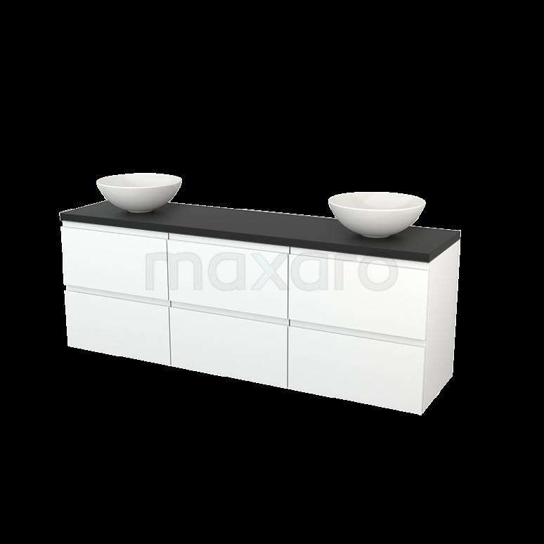 Badkamermeubel voor Waskom 180cm Mat Wit Greeploos Modulo+ Plato Carbon Blad
