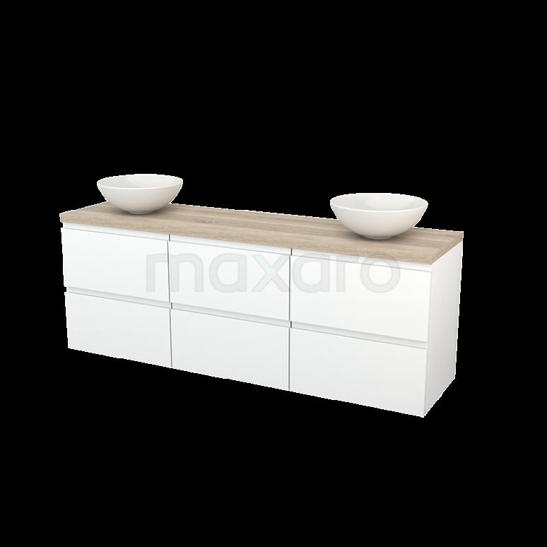 Badkamermeubel voor Waskom 180cm Mat Wit Greeploos Modulo+ Plato Eiken Blad