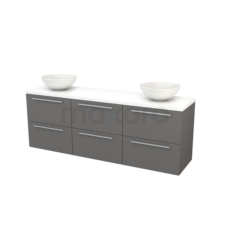 Badkamermeubel voor Waskom 180cm Basalt Vlak Modulo+ Plato Hoogglans Wit Blad