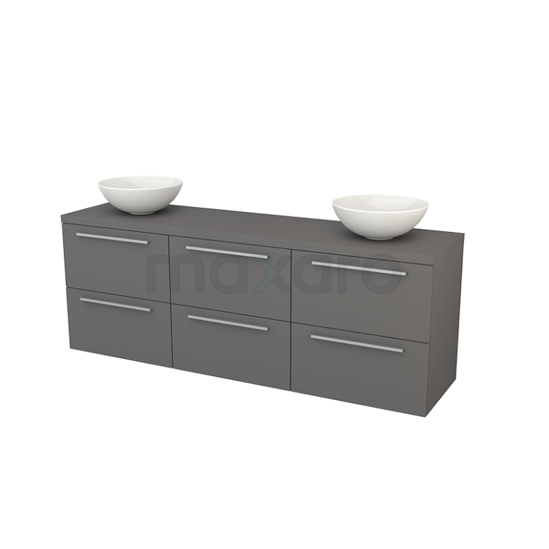 Badkamermeubel voor Waskom 180cm Modulo+ Plato Basalt 6 Lades Vlak