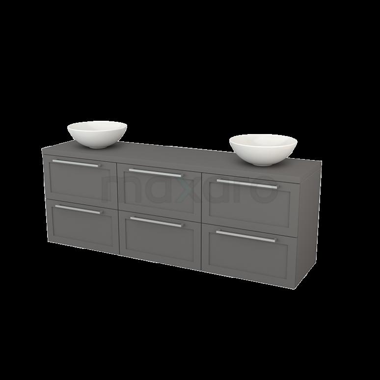 Badkamermeubel voor Waskom 180cm Modulo+ Plato Basalt 6 Lades Kader