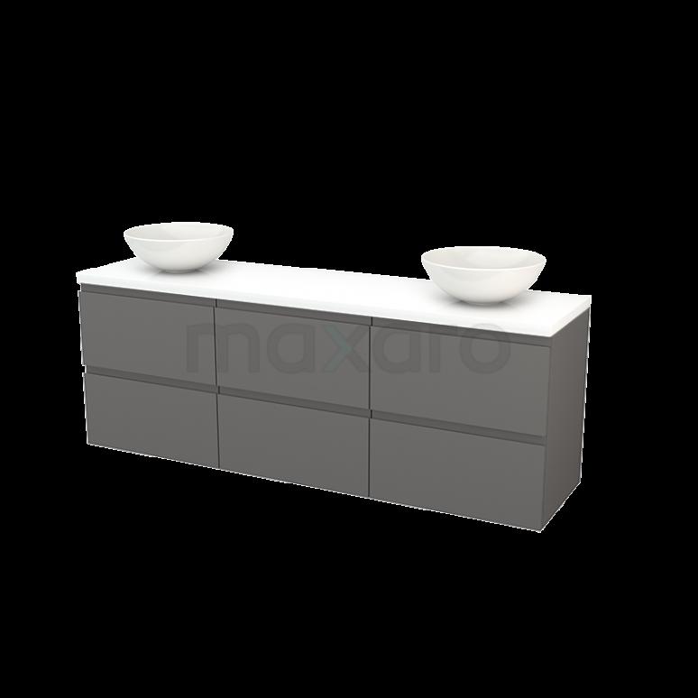 Maxaro Modulo+ Plato BMK002948 Badkamermeubel voor Waskom 180cm Basalt Greeploos Modulo+ Plato Hoogglans Wit Blad