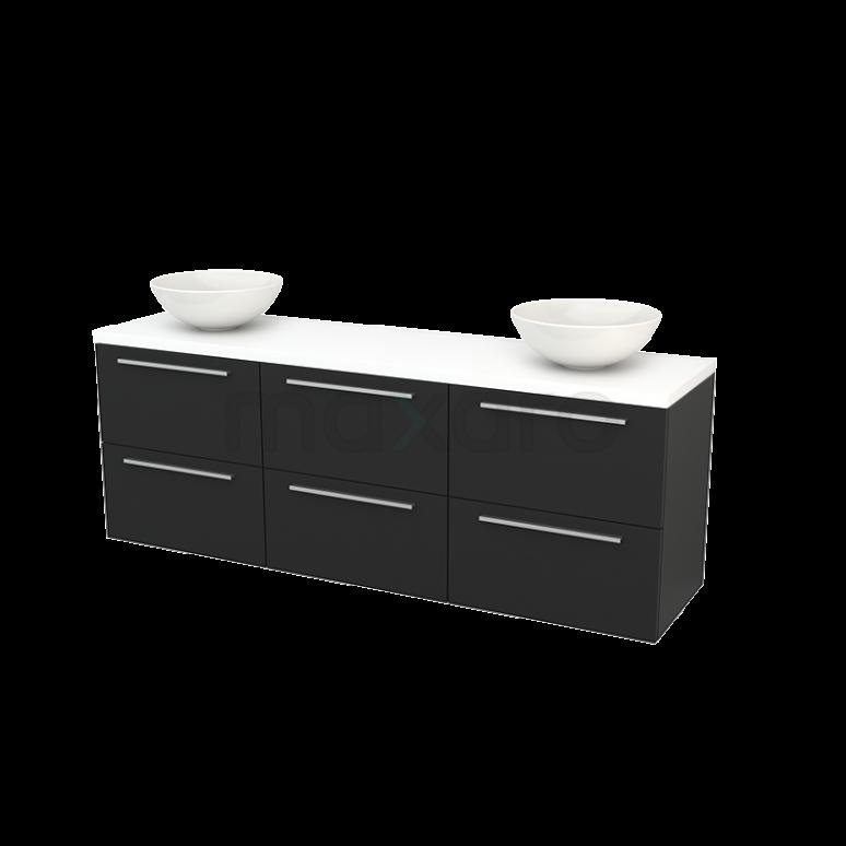 Badkamermeubel voor Waskom 180cm Carbon Vlak Modulo+ Plato Mat Wit Blad