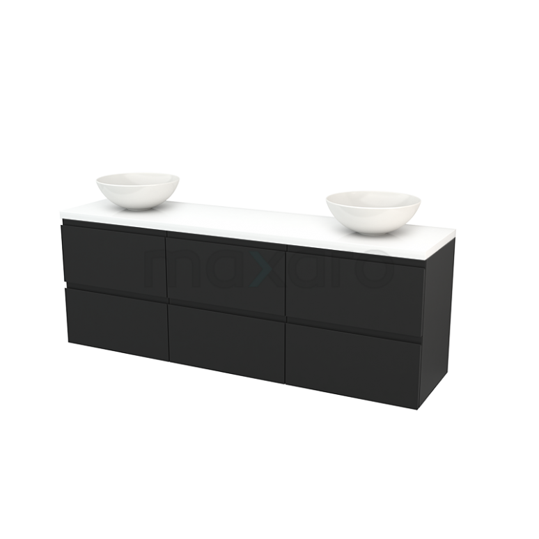 Maxaro Modulo+ Plato BMK002960 Badkamermeubel voor Waskom 180cm Carbon Greeploos Modulo+ Plato Hoogglans Wit Blad