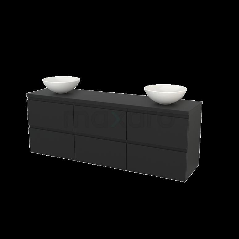 Badkamermeubel voor Waskom 180cm Modulo+ Plato Carbon 6 Lades Greeploos