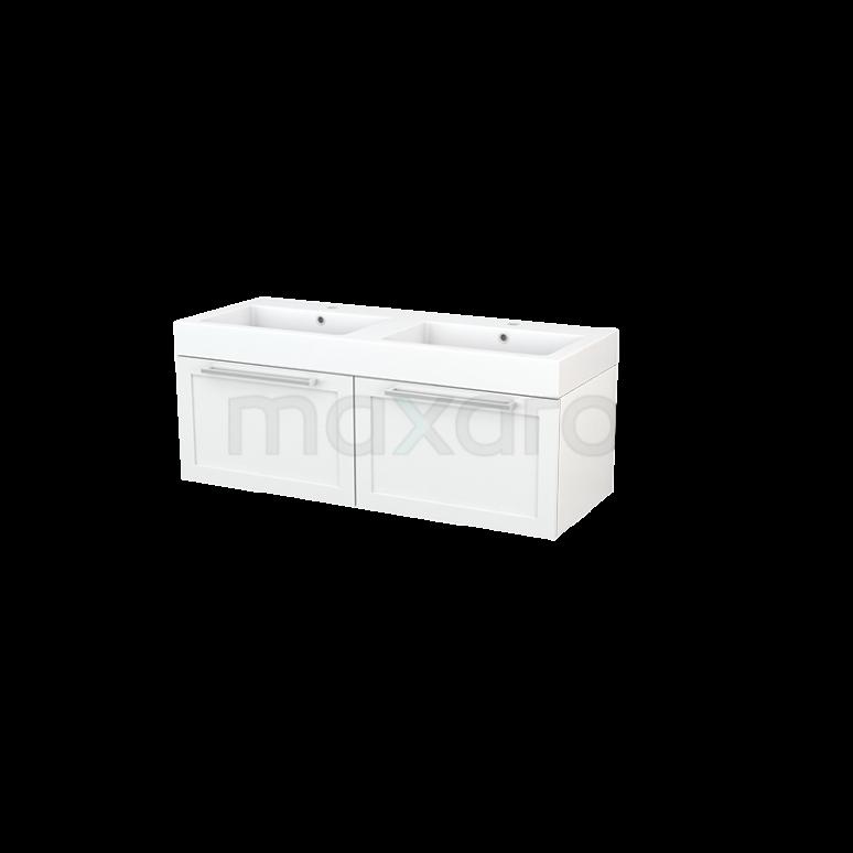 Badkamermeubel 120cm Modulo+ Hoogglans Wit 2 Lades Kader Wastafel Mineraalmarmer