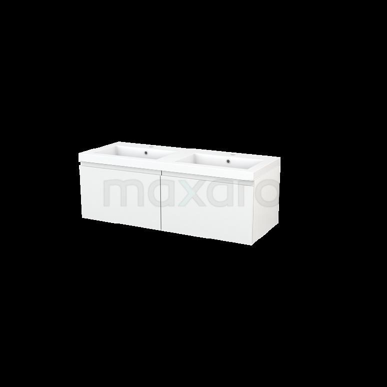 Badkamermeubel 120cm Modulo+ Hoogglans Wit 2 Lades Greeploos Wastafel Mineraalmarmer