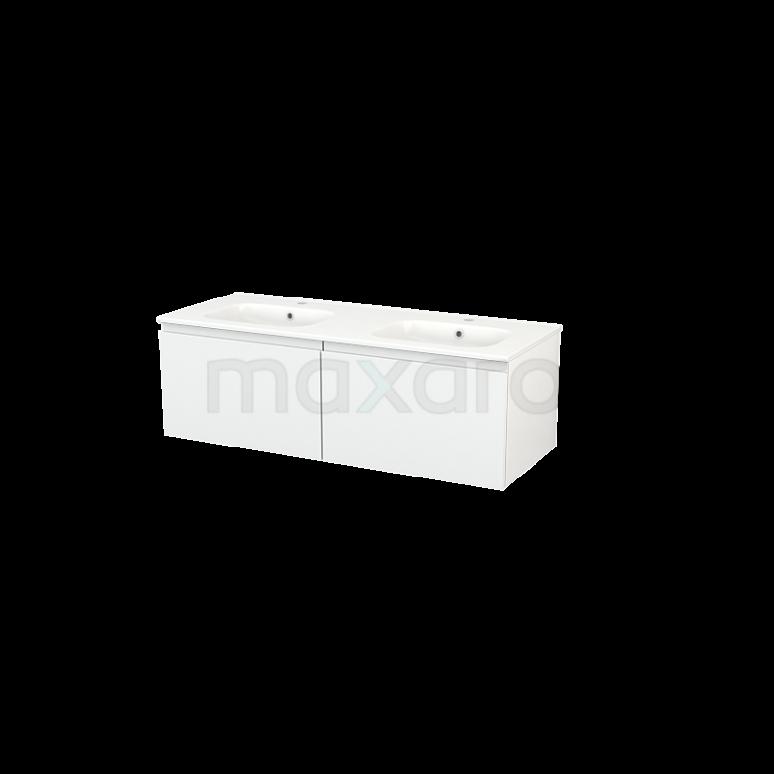 Maxaro Modulo+ BMP003626 Badkamermeubel 120cm Modulo+ Hoogglans Wit 2 Lades Greeploos Wastafel Keramiek