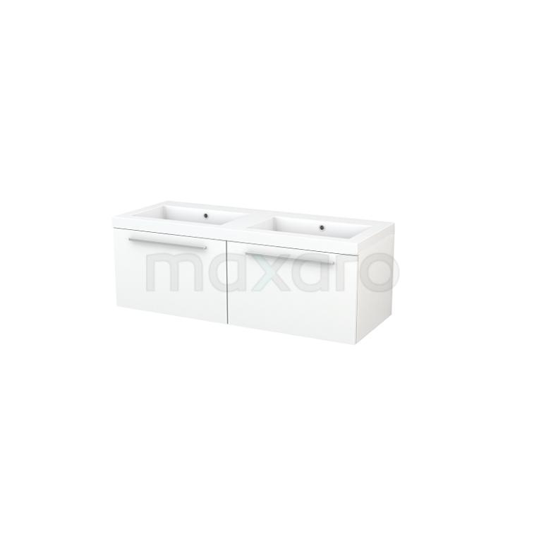 Badkamermeubel 120cm Modulo+ Mat Wit 2 Lades Vlak Wastafel Mineraalmarmer