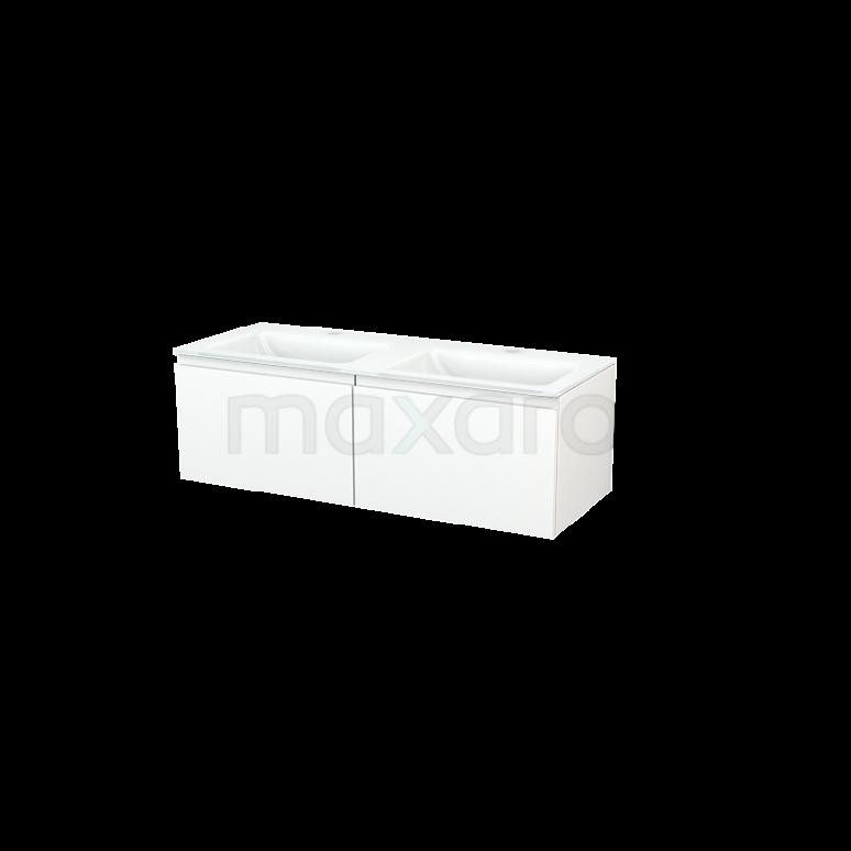 Maxaro Modulo+ BMP003652 Badkamermeubel 120cm Modulo+ Mat Wit 2 Lades Greeploos Glas