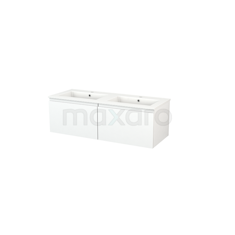 Maxaro Modulo+ BMP003657 Badkamermeubel 120cm Modulo+ Mat Wit 2 Lades Greeploos Wastafel Keramiek