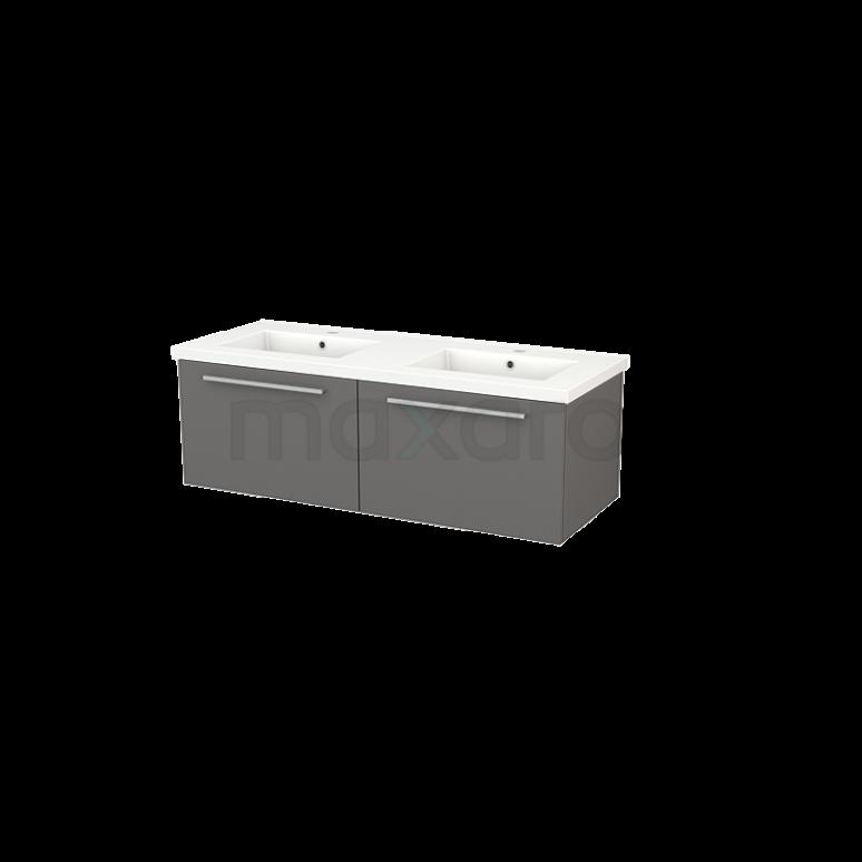 Badkamermeubel 120cm Modulo+ Basalt 2 Lades Vlak Wastafel Keramiek