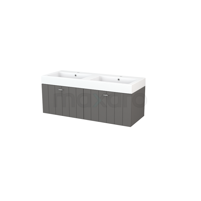 Maxaro Modulo+ BMP003672 Badkamermeubel 120cm Modulo+ Basalt 2 Lades Lamel Wastafel Mineraalmarmer
