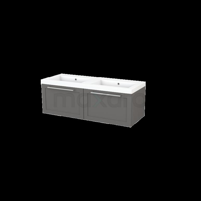 Badkamermeubel 120cm Modulo+ Basalt 2 Lades Kader Wastafel Mineraalmarmer