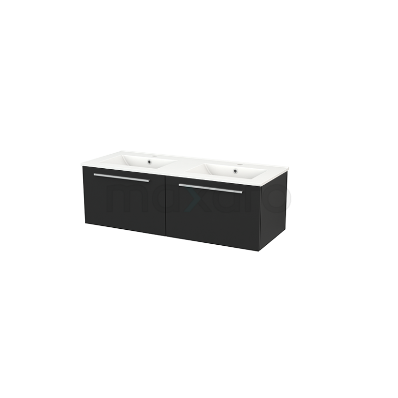 Badkamermeubel 120cm Modulo+ Carbon 2 Lades Vlak Wastafel Keramiek