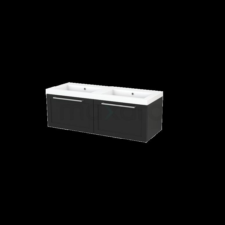 Maxaro Modulo+ BMP003710 Badkamermeubel 120cm Modulo+ Carbon 2 Lades Kader Wastafel Mineraalmarmer