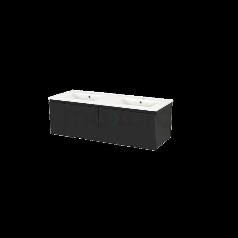 Badkamermeubel 120cm Modulo+ Carbon 2 Lades Greeploos Wastafel Keramiek