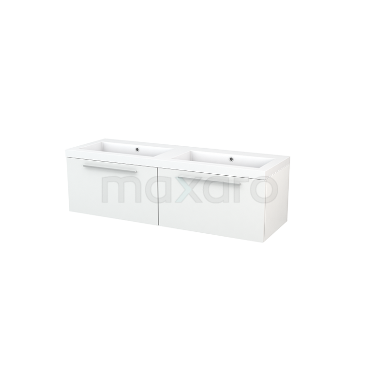 Maxaro Modulo+ BMP003774 Badkamermeubel 140cm Modulo+ Hoogglans Wit 2 Lades Vlak Wastafel Mineraalmarmer
