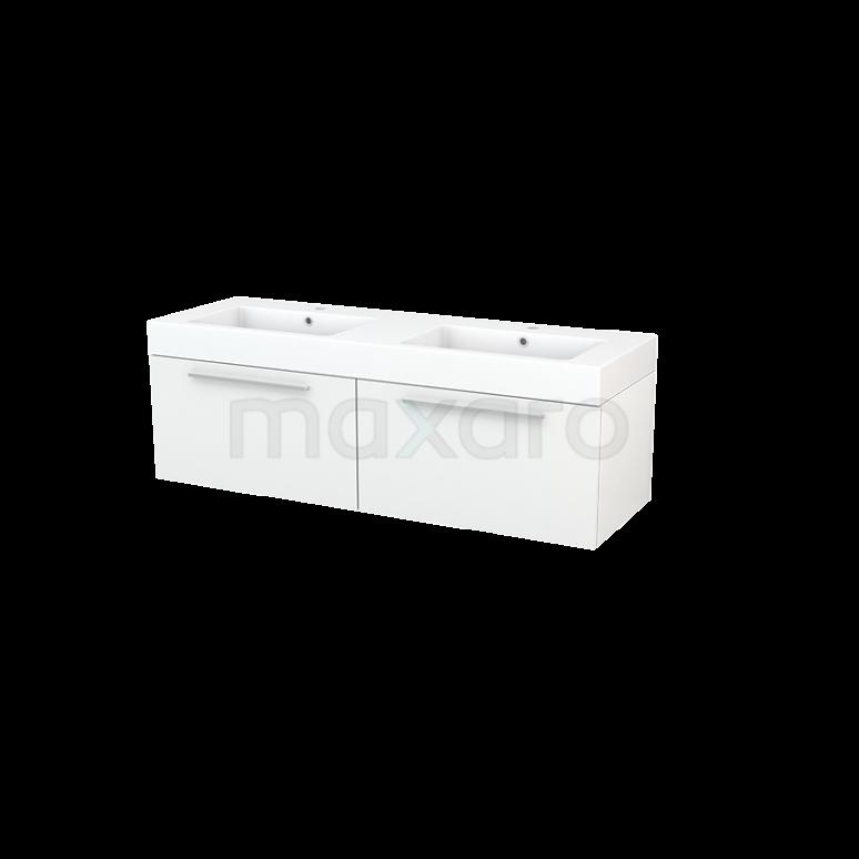 Maxaro Modulo+ BMP003776 Badkamermeubel 140cm Modulo+ Hoogglans Wit 2 Lades Vlak Wastafel Mineraalmarmer