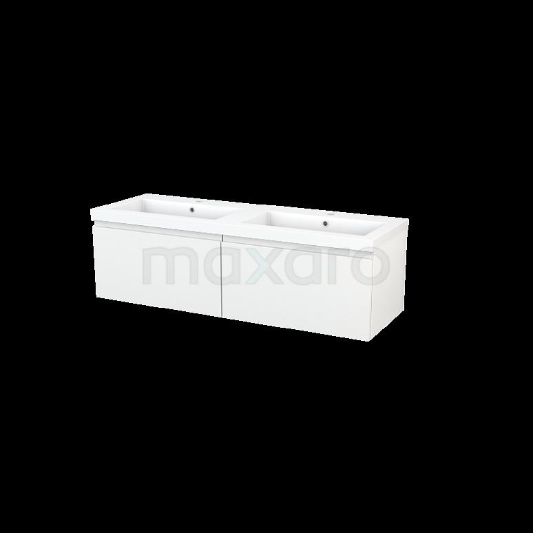 Maxaro Modulo+ BMP003793 Badkamermeubel 140cm Modulo+ Hoogglans Wit 2 Lades Greeploos Wastafel Mineraalmarmer