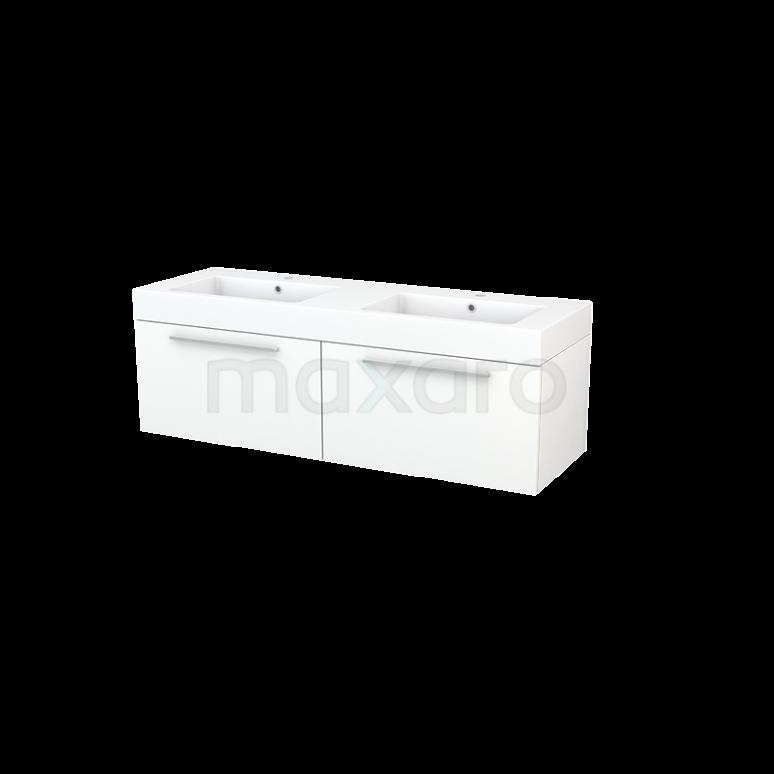 Maxaro Modulo+ BMP003800 Badkamermeubel 140cm Modulo+ Mat Wit 2 Lades Vlak Wastafel Mineraalmarmer