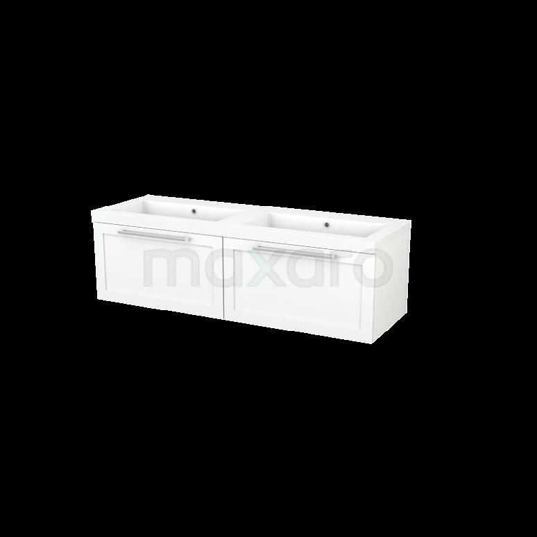 Badkamermeubel 140cm Modulo+ Mat Wit 2 Lades Kader Wastafel Mineraalmarmer
