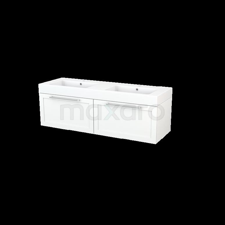 Maxaro Modulo+ BMP003812 Badkamermeubel 140cm Modulo+ Mat Wit 2 Lades Kader Wastafel Mineraalmarmer