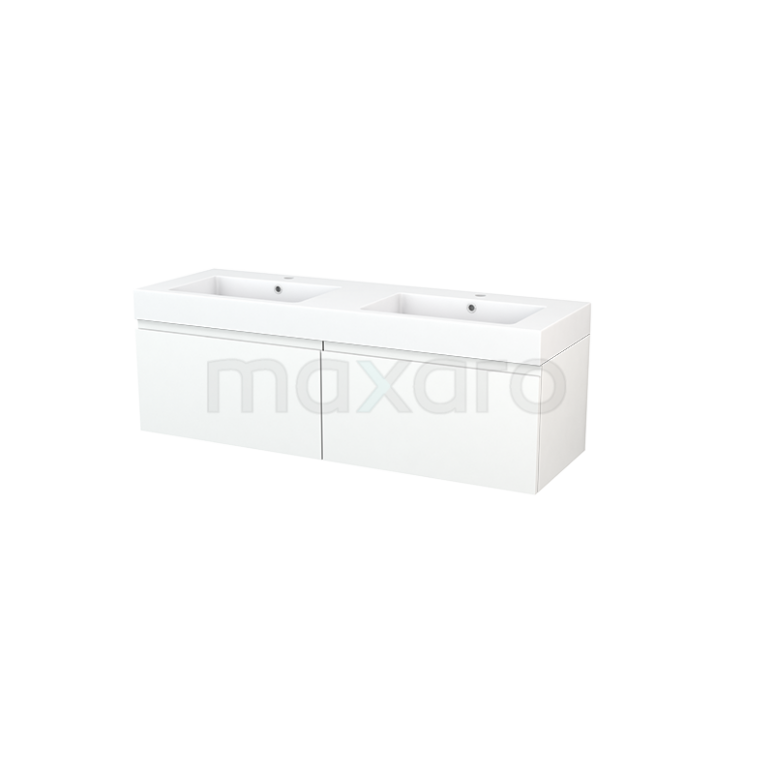 Badkamermeubel 140cm Modulo+ Mat Wit 2 Lades Greeploos Wastafel Mineraalmarmer