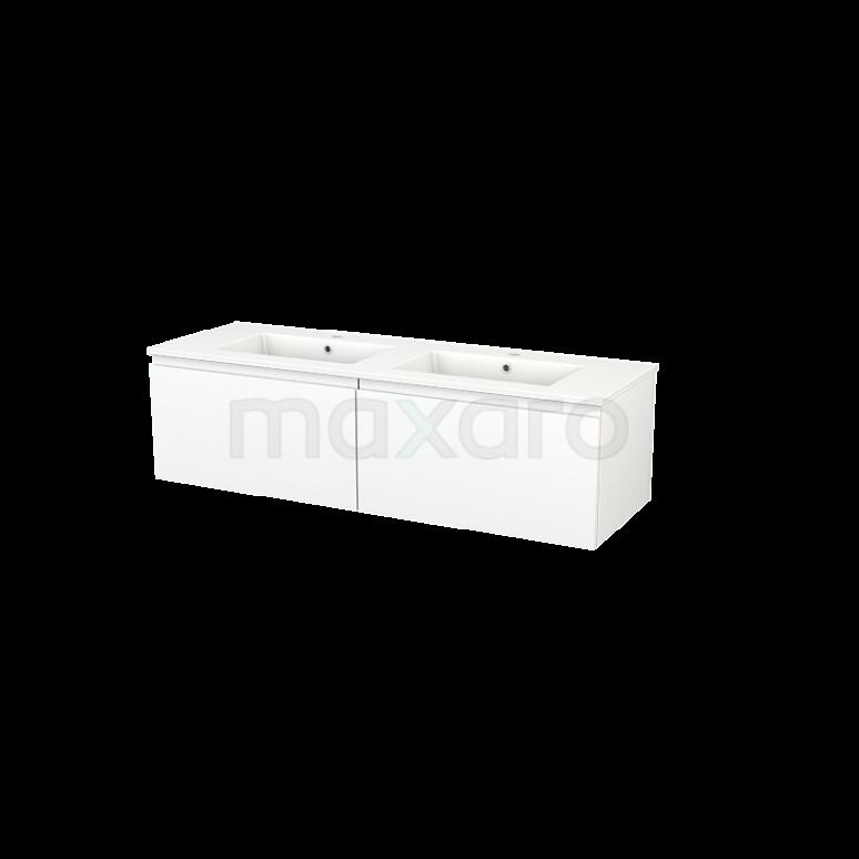 Maxaro Modulo+ BMP003819 Badkamermeubel 140cm Modulo+ Mat Wit 2 Lades Greeploos Wastafel Keramiek