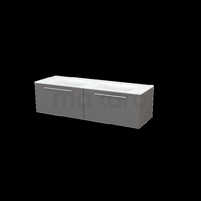 Badkamermeubel 140cm Modulo+ Basalt 2 Lades Vlak Wastafel Glas