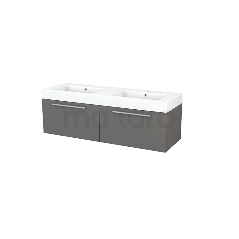 Badkamermeubel 140cm Modulo+ Basalt 2 Lades Vlak Wastafel Mineraalmarmer