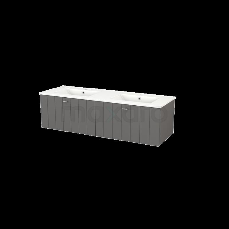 Badkamermeubel 140cm Modulo+ Basalt 2 Lades Lamel Wastafel Keramiek