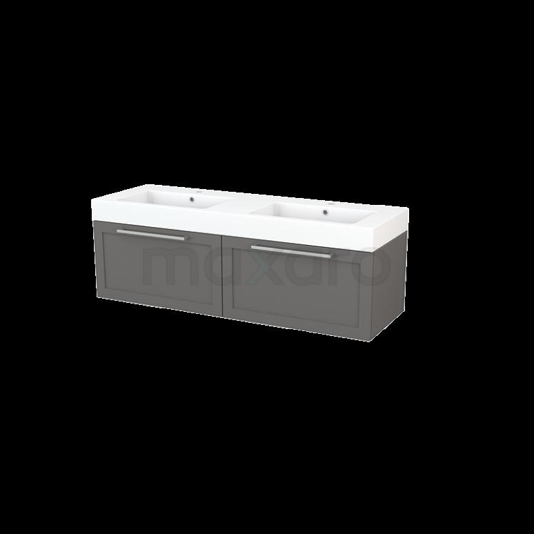 Badkamermeubel 140cm Modulo+ Basalt 2 Lades Kader Wastafel Mineraalmarmer