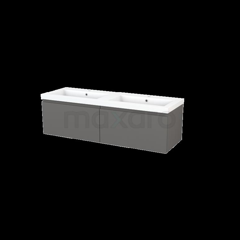 Badkamermeubel 140cm Modulo+ Basalt 2 Lades Greeploos Wastafel Mineraalmarmer