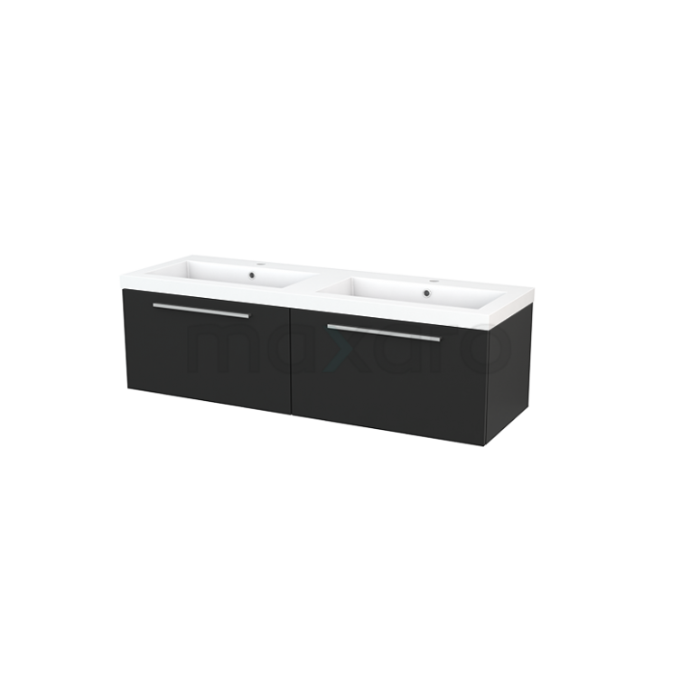 Badkamermeubel 140cm Modulo+ Carbon 2 Lades Vlak Wastafel Mineraalmarmer